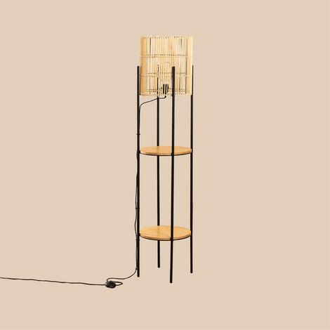 Lampadaire avec étagères en bambou Loopa SKLUM Osier - Marron Naturel