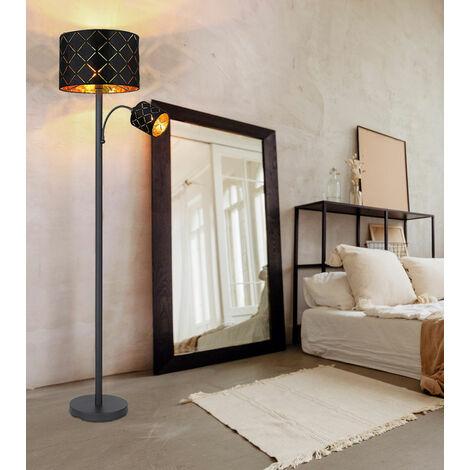 Lampadaire avec lampe de lecture Lampadaire de salon Lampadaire Lampe de lecture Plafonnier or noir, lampe de lecture décor flexible poinçonnages, 1x E27 1x E14, PxH 35 x 162 cm