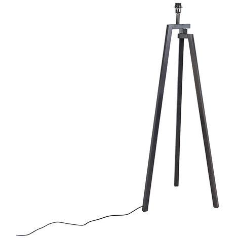 Lampadaire avec trépied en bois noir - Cortina Qazqa Design Luminaire interieur