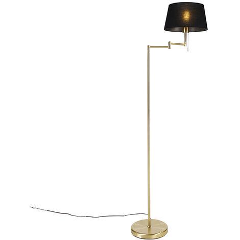 Lampadaire Classique en laiton avec abat-jour noir réglable - Ladas Qazqa Classique/Antique Luminaire interieur