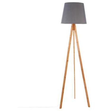 Lampadaire coloris gris en bambou et polyester - Dim : H160 x D50 cm