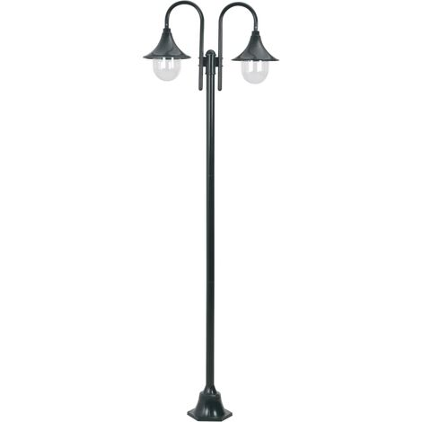 Lampadaire de jardin E27 220cm Aluminium 2 lanternes Vert foncé