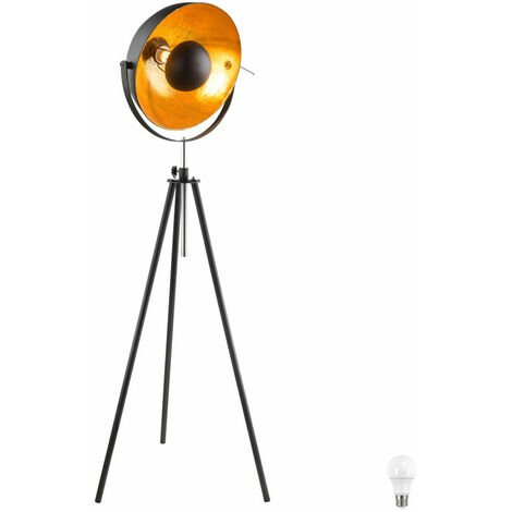 Lampadaire DEL luminaire sur pied lampe LED métal noir doré hauteur réglable salle de séjour