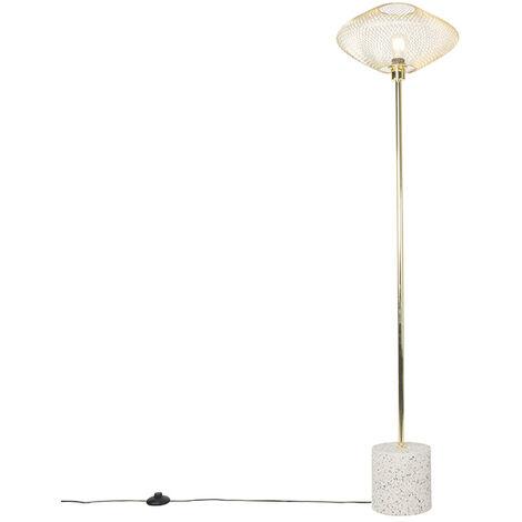 Lampadaire Design blanc avec laiton - Ella Qazqa Design Luminaire interieur Pierre / Beton