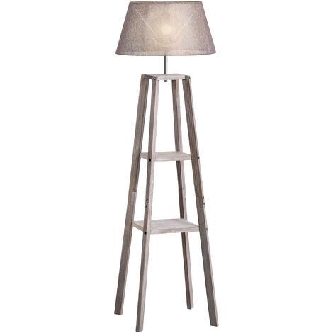 Lampadaire design contemporain 2 étagères intégrées 40 W max. dim. 45L x 45l x 148H cm pin lin gris