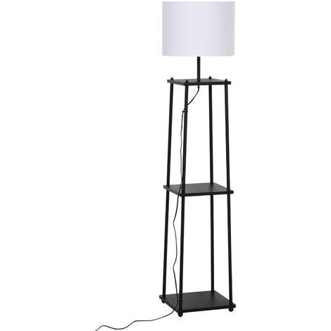 Lampadaire design contemporain 3 étagères intégrées 40 W max. dim. 34L x 34l x 150H cm MDF métal noir abat-jour blanc