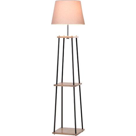 Lampadaire design contemporain dim. 40L x 40l x 160H cm 40 W max. 3 étagères intégrées bois massif caoutchouc métal noir lin beige