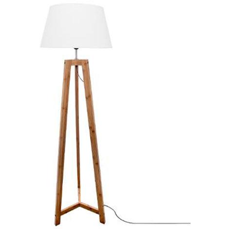 Lampadaire design en bambou coloris naturel et blanc - Dim : D 46 x H 153 cm