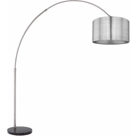 Lampadaire design marbre pied réglable lampe télécommande dimmable argent dans un ensemble comprenant des ampoules LED RGB