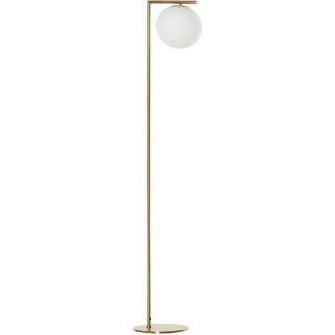 Lampadaire design néo-rétro globe en verre blanc opaque max. 40 W métal doré