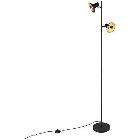 Lampadaire Design noir avec 2 lumières dorées - Avril Qazqa Industriel / Vintage Luminaire interieur