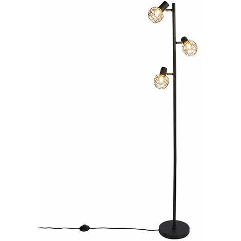 Lampadaire Design noir avec or 3 lumières orientable - Mesh Qazqa Moderne Cage Lampe Luminaire interieur