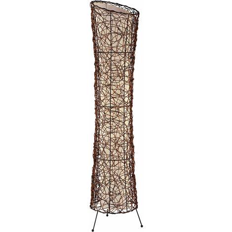 Lampadaire design salon rotin bois plafonnier lampe textile Nino 40020243