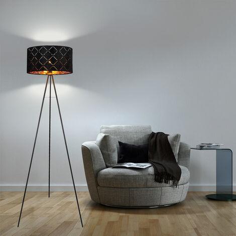 Lampadaire design sur pied Spotlight Lampe sur pied textile BLACK GOLD dans un set comprenant des ampoules LED