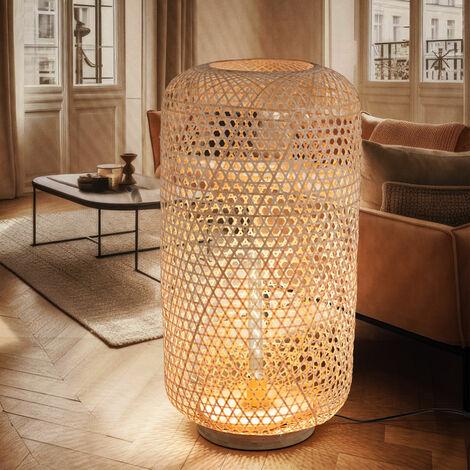 Lampadaire en bambou salon salle à manger lampe tissée naturel H 77 cm Globo 15367S1