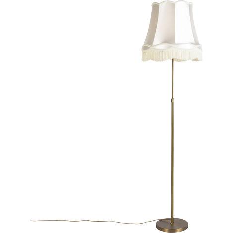 Lampadaire en bronze avec abat-jour Granny crème 45 cm réglable - Parte Qazqa Rustique Luminaire interieur Cylindre / rond