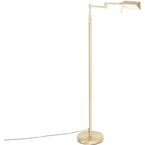 Lampadaire en laiton avec LED avec variateur tactile - Notia Qazqa Moderne Luminaire interieur