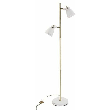 Lampadaire en métal 2 spots 170 cm - Blanc