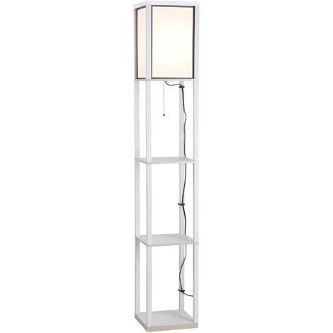 Lampadaire étagère lampe étagère 26L x 26l x 160H cm 3 étagères 4 niveaux MDF blanc - Blanc