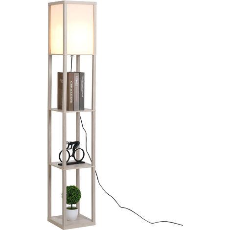 Lampadaire étagère lampe étagère 26L x 26l x 160H cm 3 étagères 4 niveaux MDF gris clair