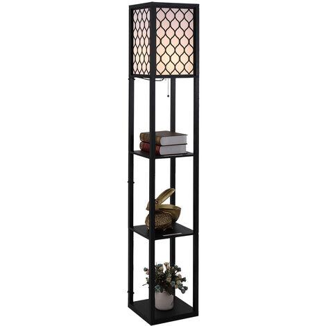 Lampadaire étagère lampe étagère 26L x 26l x 160H cm 3 étagères 4 niveaux MDF noir motif nid d'abeille