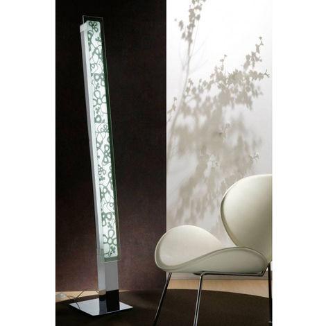 Lampadaire Euphoria 2 Ampoules T5, chrome poli/blanc opal verre