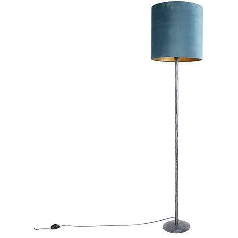 Lampadaire gris antique velours abat-jour bleu 40 cm - Simplo Qazqa Retro Luminaire interieur