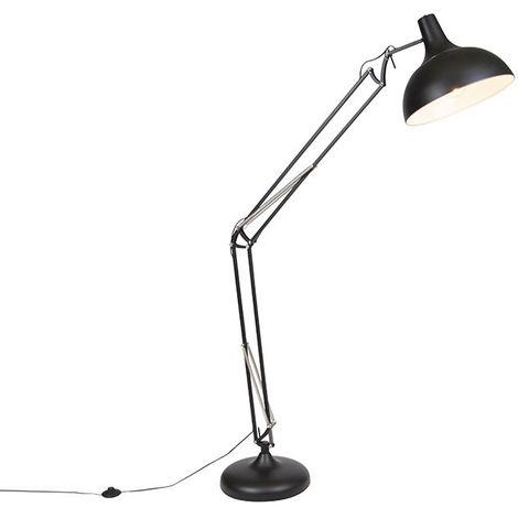 Lampadaire Industriel / Vintage noir 185 cm réglable - Hobby Qazqa Moderne, Design, Industriel / Vintage Luminaire interieur Rond