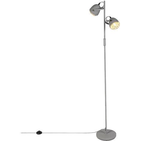 Lampadaire Industriel / Vintage réglable gris 2 lumières - Rebus Qazqa Industriel / Vintage Luminaire interieur Rond