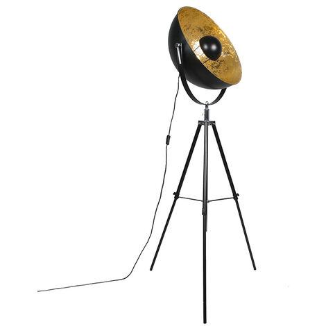 Lampadaire Industriel / Vintage trépied noir - Magna 50 Eglip Qazqa Moderne Luminaire interieur Rond