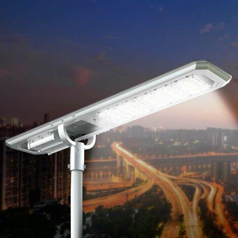 Lampadaire LED à Énergie Solaire 5000 Lumen Panneau Photovoltaïque Intégré pour Jardin Parking Route GOLDRAKE