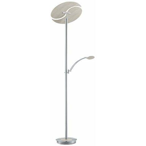 Lampadaire LED Bois Blanc Bolero Liseuse très lumineux 4200 lumen - Argent