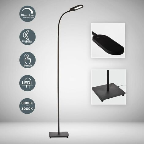 Lampadaire LED design métal orientable intensité couleur réglable touch flexible