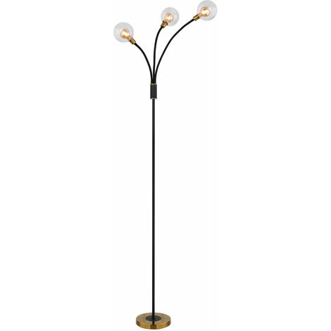 Lampadaire LED Flexo éclairage en métal noir Lampe de salon en verre dimmable