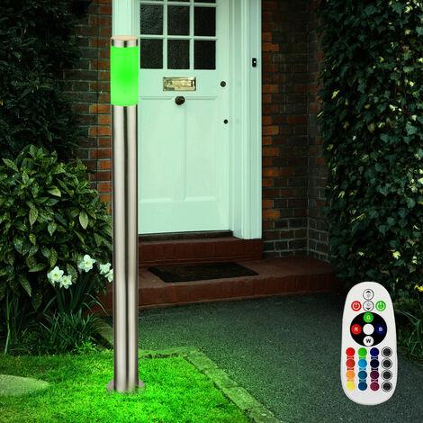 Lampadaire LED RVB acier inoxydable luminaire sur pied éclairage extérieur télécommande lampe DEL