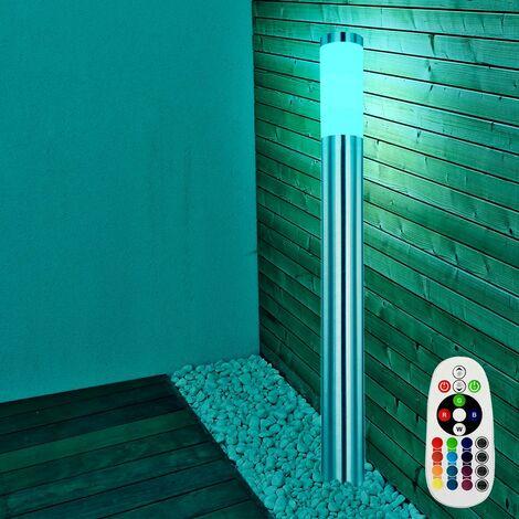 Lampadaire LED RVB luminaire sur pied lampe DEL télécommande espace extérieur acier inoxydable