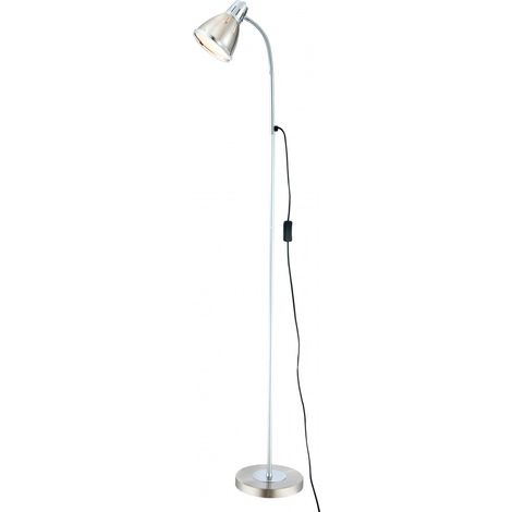 Lampadaire luminaire sur pied éclairage nickel mat chrome salle de séjour lampe