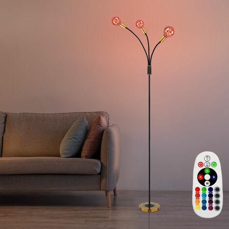 Lampadaire mobile Télécommande Lampadaire Variateur BLACK GOLD avec ampoule LED RGB
