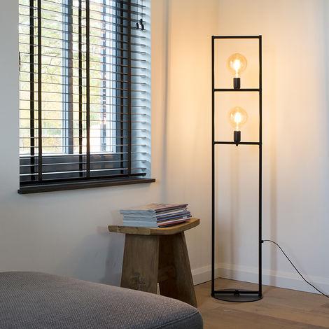 Incroyable Lampadaire Moderne 2 Noir   Simple Cage Qazqa Industriel / Vintage, Art Deco  Luminaire Interieur
