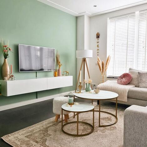 Lampadaire Moderne en bois avec abat-jour blanc - Tripe Qazqa Moderne Luminaire interieur