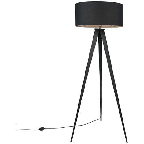 Lampadaire Moderne noir avec abat-jour noir - Tripe Qazqa Moderne Luminaire interieur