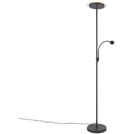 Lampadaire Moderne noir avec LED avec bras de lecture - Chala Qazqa Moderne Luminaire interieur
