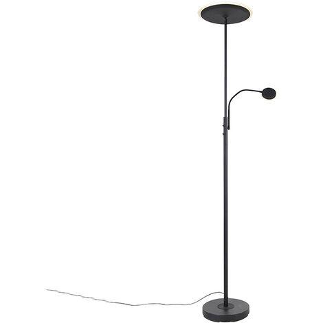Lampadaire Moderne noir avec LED avec télécommande et bras de lecture - Strela Qazqa Moderne Luminaire interieur