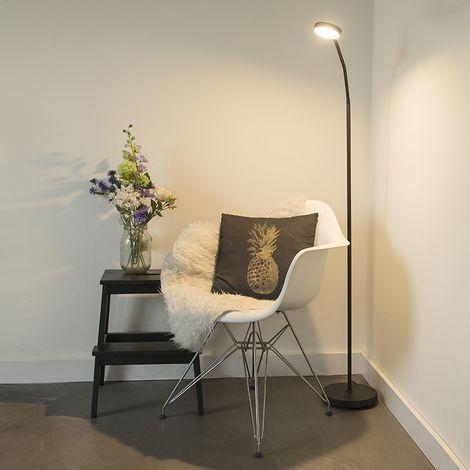 Moderne Noir Luminaire Qazqa Led InclTrax Lampadaire FJTcK1lu35