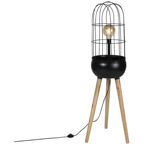 Lampadaire Moderne noir sur trépied en bois - Oiseaux Qazqa Retro, Industriel / Vintage Luminaire interieur Globe Rond