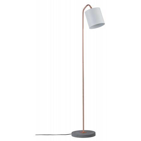Lampadaire NEORDIC ODA - 20W - E27 - 230V - Blanc/cuivre - Béton - Dimmable - Sans ampoule - Avec connecteur de câble