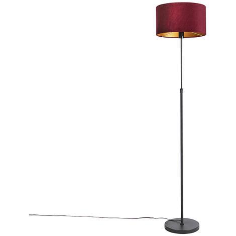 Lampadaire noir avec abat-jour en velours rouge avec or 35 cm - Parte Qazqa Rustique Luminaire interieur Cylindre / rond
