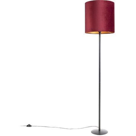 Lampadaire noir avec abat-jour en velours rouge et or 40 cm - Simplo Qazqa Classique/Antique Luminaire interieur Cylindre / rond