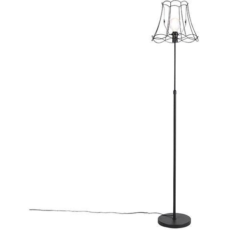 Lampadaire noir avec Granny Frame 35 cm réglable - Parte Qazqa Classique/Antique Minimaliste Vintage Cage Lampe Luminaire interieur Rond