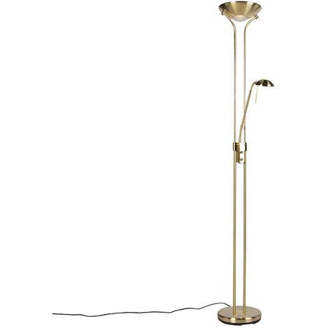 Lampadaire or avec lampe de lecture avec LED et dimmer - Diva 2 Qazqa Moderne Luminaire avec variateur interieur Rond
